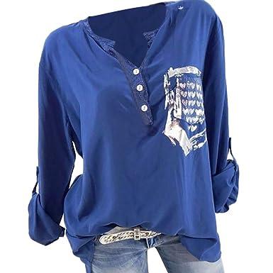 da6b98a1afba TianWlio Langarm Bluse Damen Frauen Mode Lässige Mode Herbst Lose Langarm  Tasche gedruckt Bluse Tops T-Shirt  Amazon.de  Bekleidung