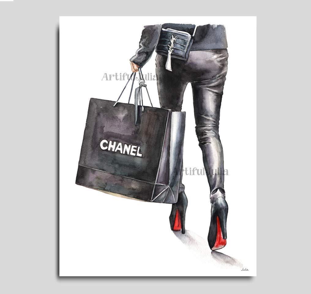 4501a8494cf94c Amazon.com: Fashion print, Chanel shopping bag art print of watercolor  painting, (NO FRAME), 5