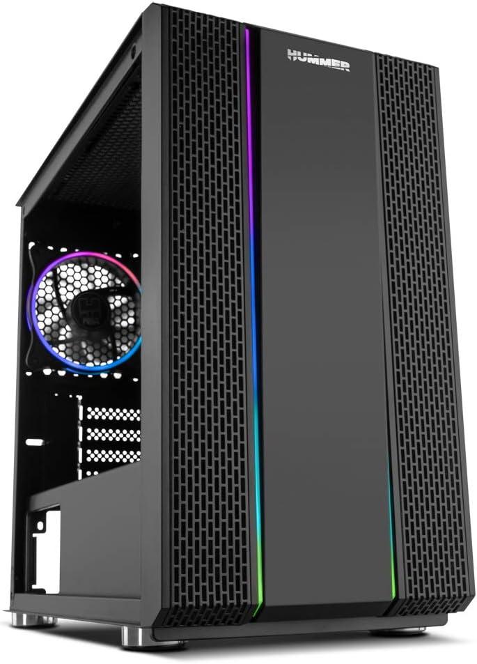 Nox Hummer Fusion S - NXHUMMERFSNS - Minitorre ARGB Rainbow Micro ATX-ITX, ventilador 120mm ARGB preinstalado, lateral cristal templado, LED, espacio hasta 5 ventiladores, USB 3.0, color negro