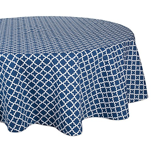 (DII Round Lattice Cotton Tablecloth for Weddings, Picnics, Summer Parties and Everyday Use - 70