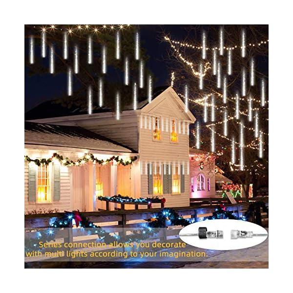 GPODER Doccia Pioggia Luci 30CM, 8 Impermeabile Tubo Luci della Pioggia di Meteore, 288 LEDs Waterfall Light per Natale/Esterno/Albero/Casa/Giardino/All'Aperto Decorazione(Bianco) 4 spesavip