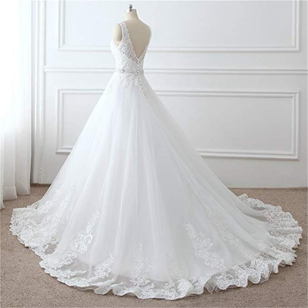 Dobelove Womens Lace Bodice Ball Gown Wedding Dress Detachable Train