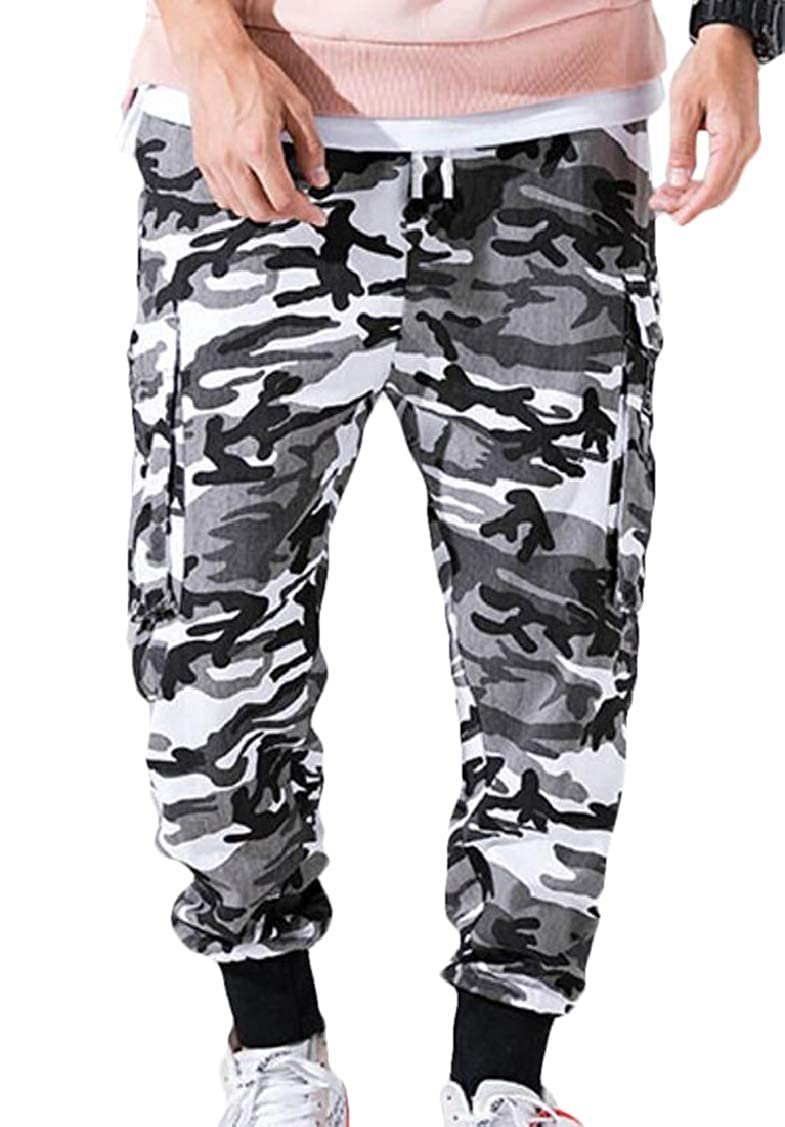 Spirio Men Fashion Elastic Waist Camo Print Multi Pockets Jogger Long Pants