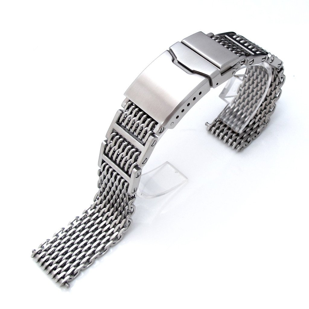 24mm Flexi Ploprof 316 Reform ''SHARK'' Mesh Band, 316L Stainless Steel, Chamfer Clasp, Brush by 24mm Mesh Band