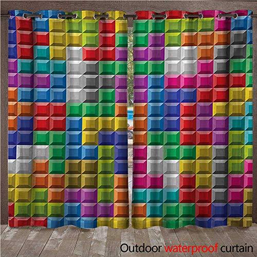 WilliamsDecor Video Games Home Patio Outdoor Curtain Colorful Retro Gaming Computer Brick Blocks Image Puzzle Digital 90s Play W84 x L84(214cm x 214cm) (Retro Carousel)