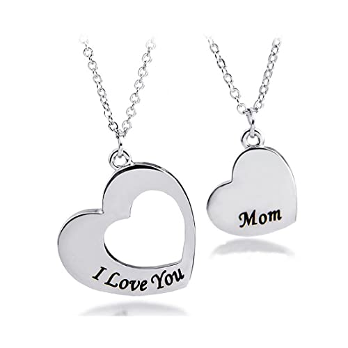 Amazon mother daughter necklace set of 2 matching heart mom and mother daughter necklace set of 2 matching heart mom and me jewelry i love you aloadofball Images