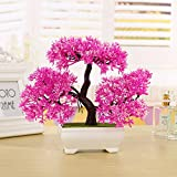 New Fashion Plastic Artificial Tree Plants Ceramics Bonsai Tree Pot Culture For Office Home Living Room Furnishings Decorative (Pink)