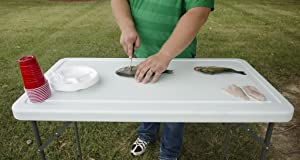 RITE-HITE Multi Function Folding Table - Ideal for Outdoor Use, Fish Filleting, Folding Legs, Sloped Drain