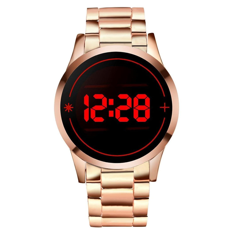 タッチスクリーン腕時計, sinma円形サーフェスパターンWatchesスチールストラップLED日日付腕時計 B071NPK8WV