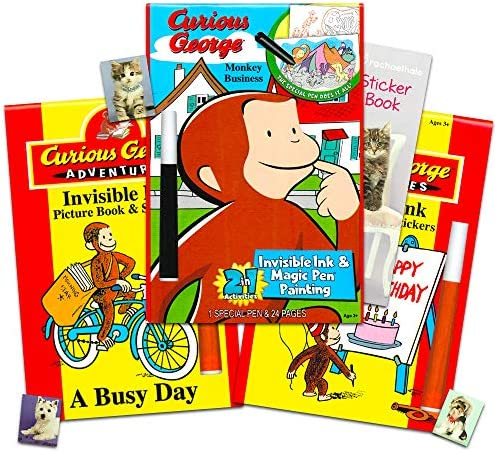 Curious George Coloring And Activity Book Set For Kids Toddlers -- 3 No  Mess Coloring Books With Invisible Ink Pens And Stickers (Curious George  Party Supplies Bundle): Buy Online At Best Price