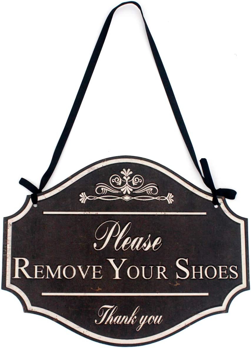 Funly mee Vintage Distressed Black Metal Please Remove Your Shoes Wall Decorative Sign-Take Your Shoes Off Sign for Door -12.2×9.5(in)
