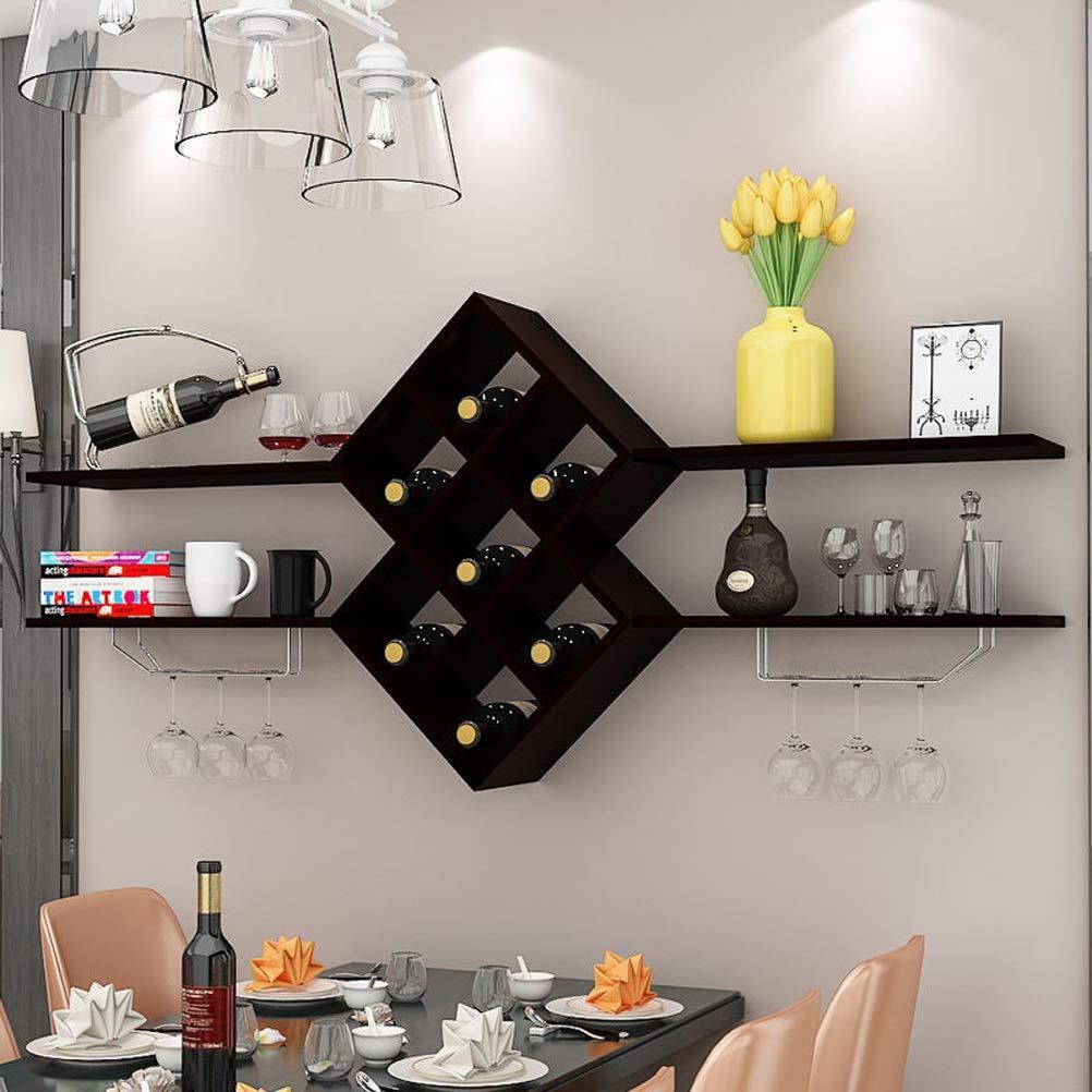 新しいリビングルームクリエイティブファッション木製格子壁ワインラックバーぶら下げ赤ワインラックレストラン壁掛けワインキャビネット (色 : 黒) B07MN8BJDM 黒