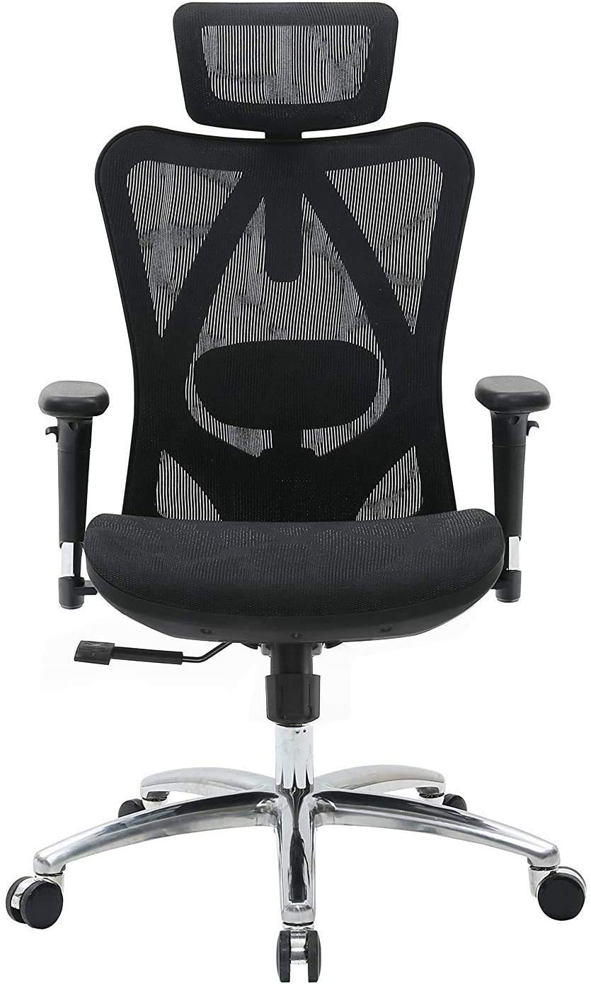 Ergonomic Office Chair Adjustable Armrest High Back Desk Chair with Breathable Mesh Black Mesh Chair with Lumbar Support Backrest and Headrest