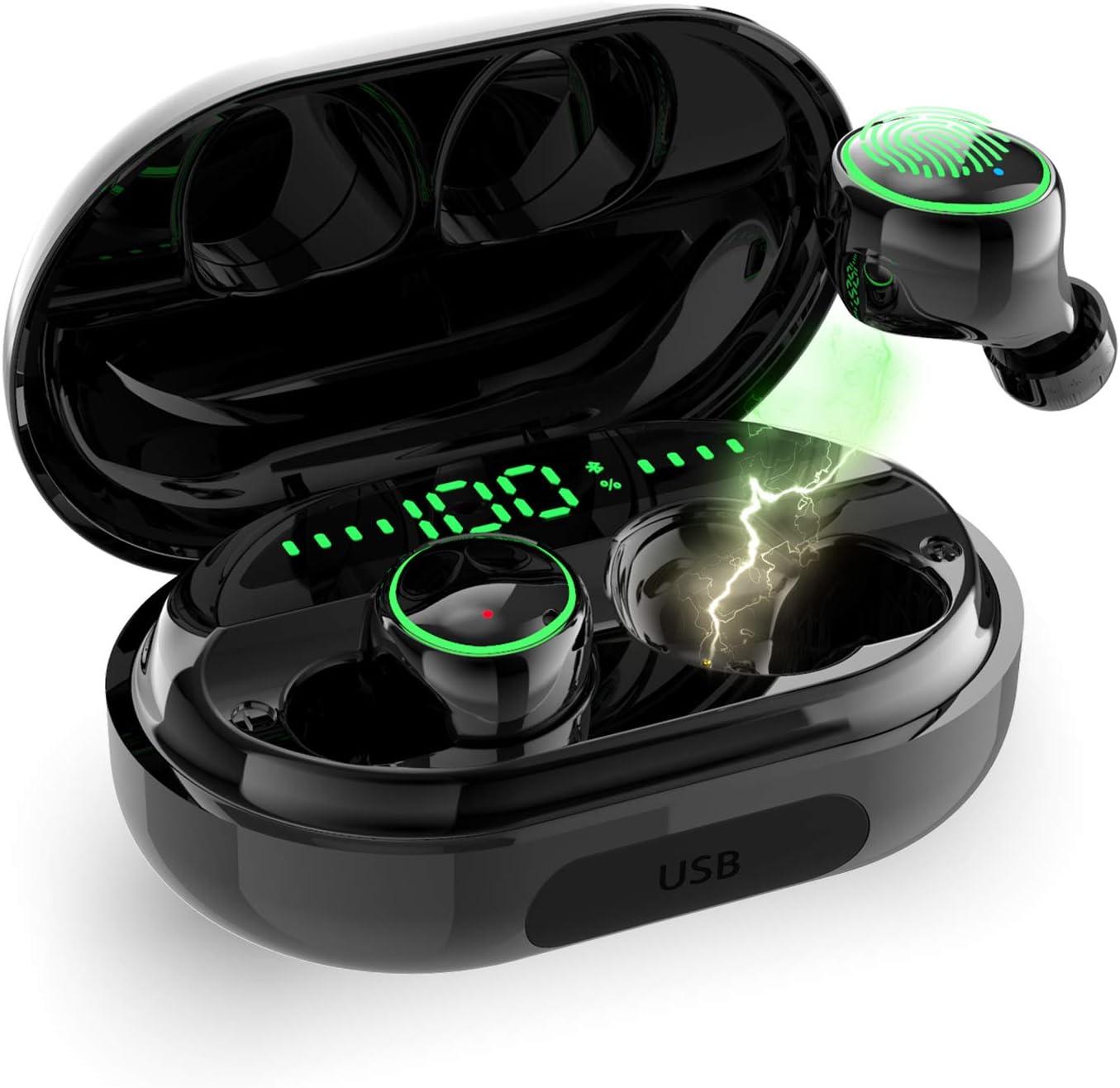 HCDjgh Bluetooth Earphones with Microphone Wireless, Mini Twins Wireless Sports in-Ear Stereo Noise Cancelling On-Ear Headphones Purple