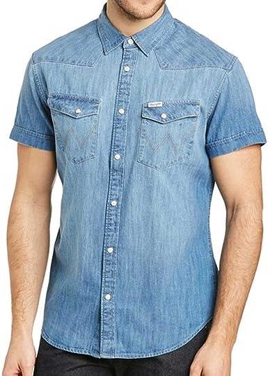Wrangler - Camisa vaquera para hombre SS Western Camiseta Light Indigo (M, Light Indigo): Amazon.es: Ropa y accesorios