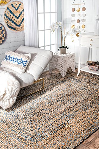 nuLOOM Hand Braided Twined Jute and Denim Area Rug, Blue, 3' x 5'