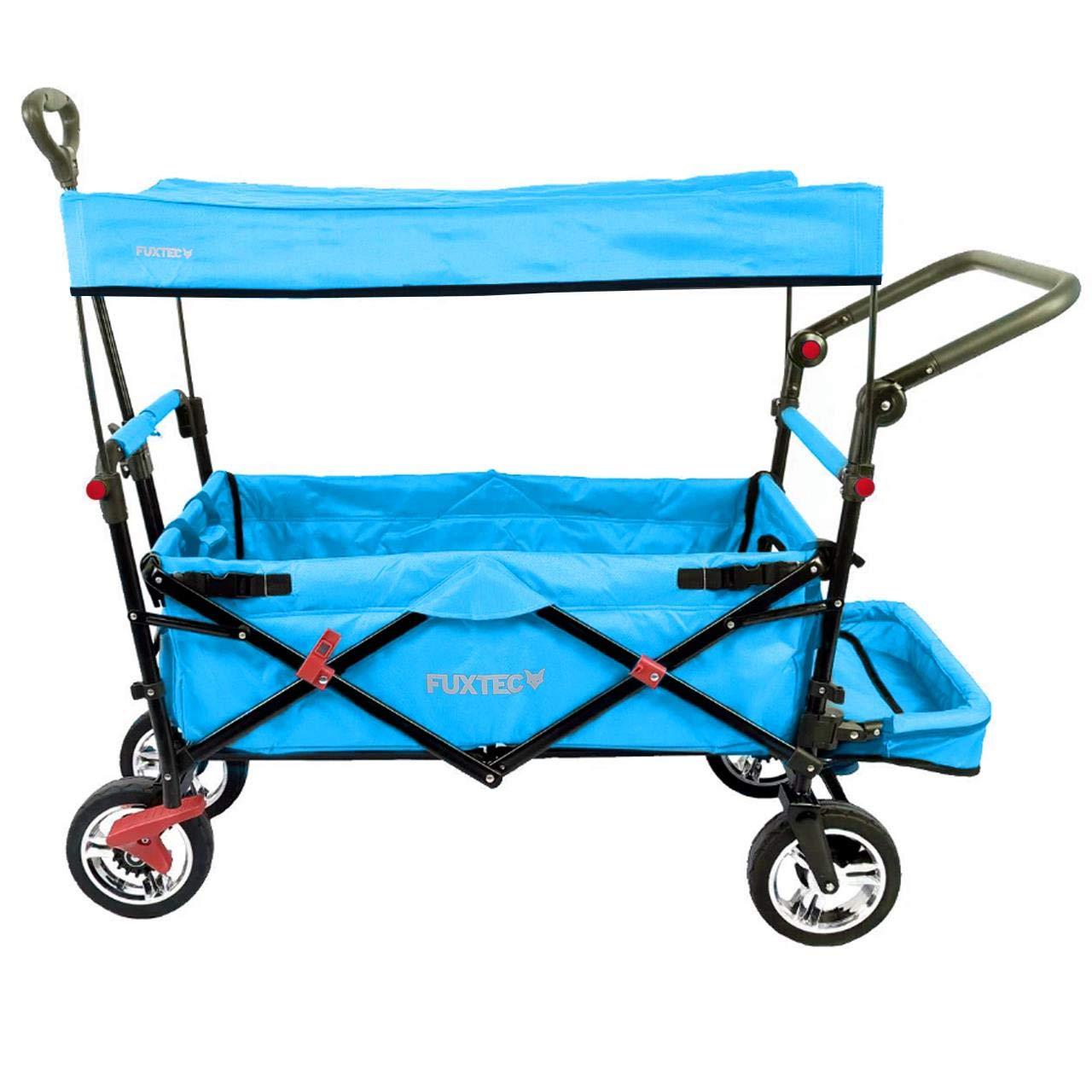 FUXTEC faltbarer Bollerwagen FX-CT800 türkis klappbar mit Dach, Vorder- und Hinterrad-Bremse, Vollgummi-Reifen, Bügel,Innenraumverlängerung für extra lange Beine, für Kinder geeignet - Das Original