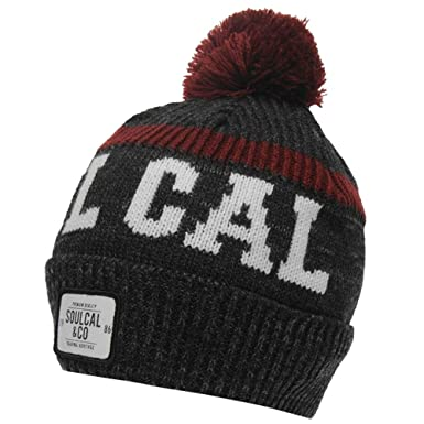 4f950178 SoulCal Mens Winter Knitted Svarog Pom Pom Hat Headwear Accessories ...