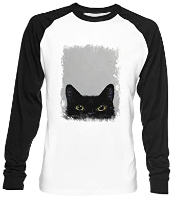 Negro Gato Unisex Blanca De Béisbol Camiseta Hombre Mujer Baseball ...