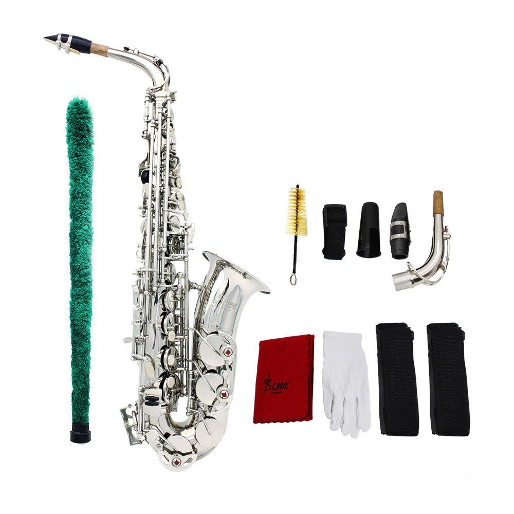 saxofón alto plateado con kit de mantenimiento y estuche xmp