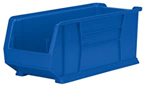 Akro-Mils 30287 24-Inch D by 11-Inch W by 10-Inch H Super Size Plastic Stacking Storage Akro Bin, Blue, Case of 4