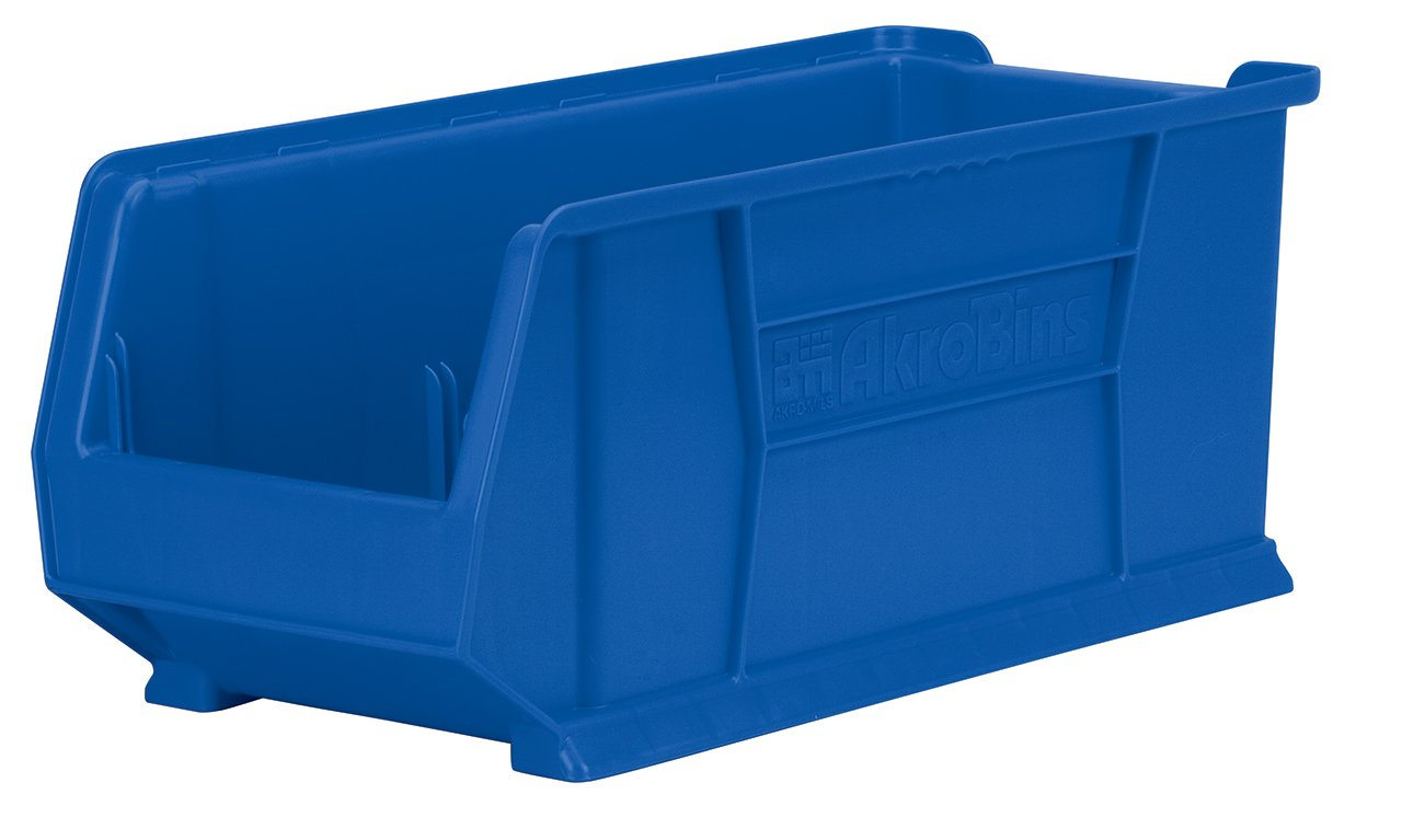 Akro-Mils 30292 30-Inch D by 11-Inch W by 10-Inch H Super Size Plastic Stacking Storage Akro Bin, Blue, Case of 4