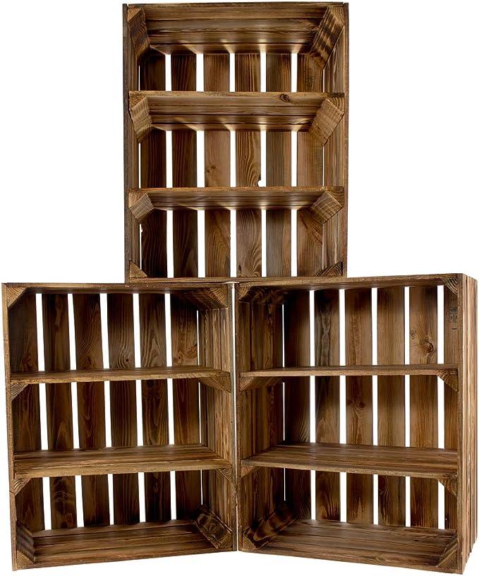 Vintage Möbel 24 GmbH - Cajas de Madera rústicas (3 Unidades, con Dos tableros centrales, Ideal para Botellas o Libros, 50 x 31 x 61 cm), Color marrón: Amazon.es: Hogar