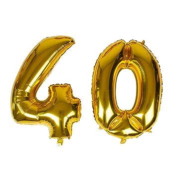 Gustawarm Lámina de Oro Gigante Número 40 Globo 40 Hoja ...