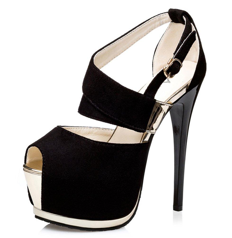 Easemax Noir Femme Mode Peep Talon Boucle Haut Peep Toe Avec Boucle Noir 74b45fc - deadsea.space