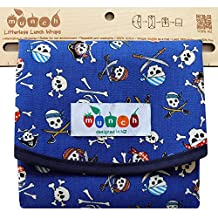 Pirate Print Reusable Sandwich Wrap. BPA and Phthalate Free. Comes with Free E-book with 10 Lunch Box Ideas to Make Pcnics an Lunches Fun, Easy and Sustainable. Converts to Easy-clean Placemat.