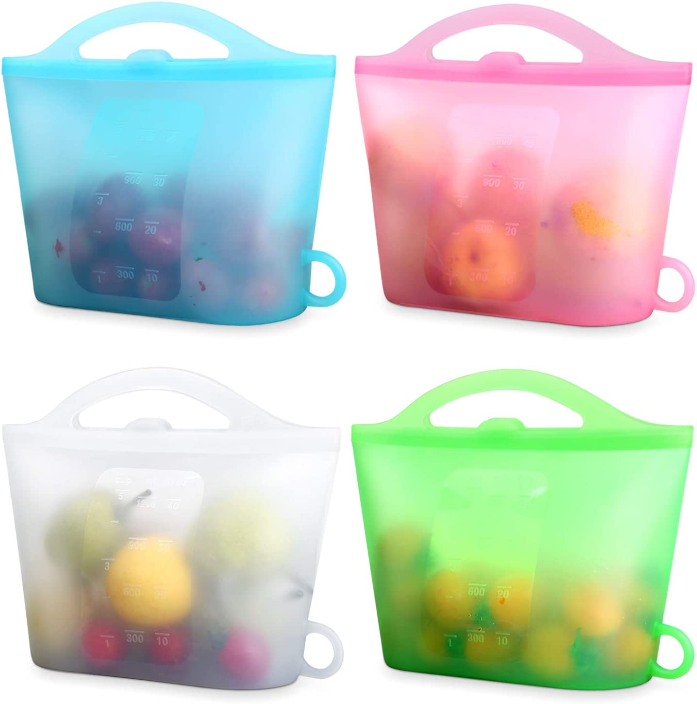 XUANMEIKE Food Grade 100% Silicone Storage Bag 4 Packs of Reusable Food Storage Bags (Upright), Suitable for Storage of Various Foods Freezing, Keeping Fresh, Cooking, Heating (Blue White Pink Green)