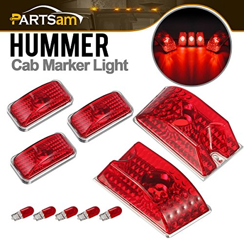 Red Lens Cab Marker Roof Running Top Clearance Crystal Chrome Lights w/5xT10 194 168 W5W 2825 Red Halogen Bulbs Replacmeent for 2003-2009 Hummer H2 SUV SUT Waterproof ()