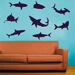 Shark Wall Decal Beach Decor - Shark Decor Vinyl Wall Decals Set of Eight Sharks Graphic(Black,xs)