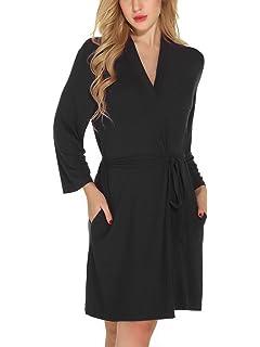0cb79606fffe Etopstek Women Bathrobes Breathable Robes Soft Kimono Lightweight Short  Cotton Loungewear Hotel Spa Robes