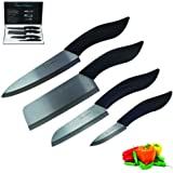 Mama's Kitchenware 4-Piece Ceramic Knife Set with Black Handles and Blades