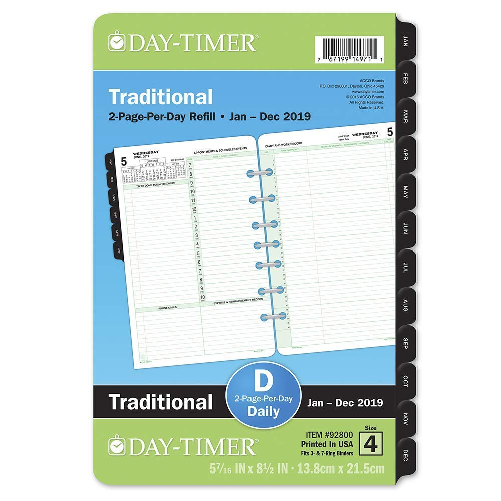 photo about Daily Planner Page called Working day-Timer 2019 Day-to-day Planner Refill, 5-1/2\