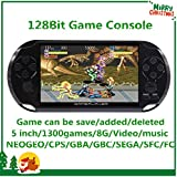 CZT 5 inch Screen 8GB 128Bit Retro Video Games Console Built-in 1300 Games for Arcade NEOGEO/CPS FC/NES,SFC/SNES/GB/GBC/GBA/SMC/SMD/SEGA Handheld Game Console MP3/4 (Black)