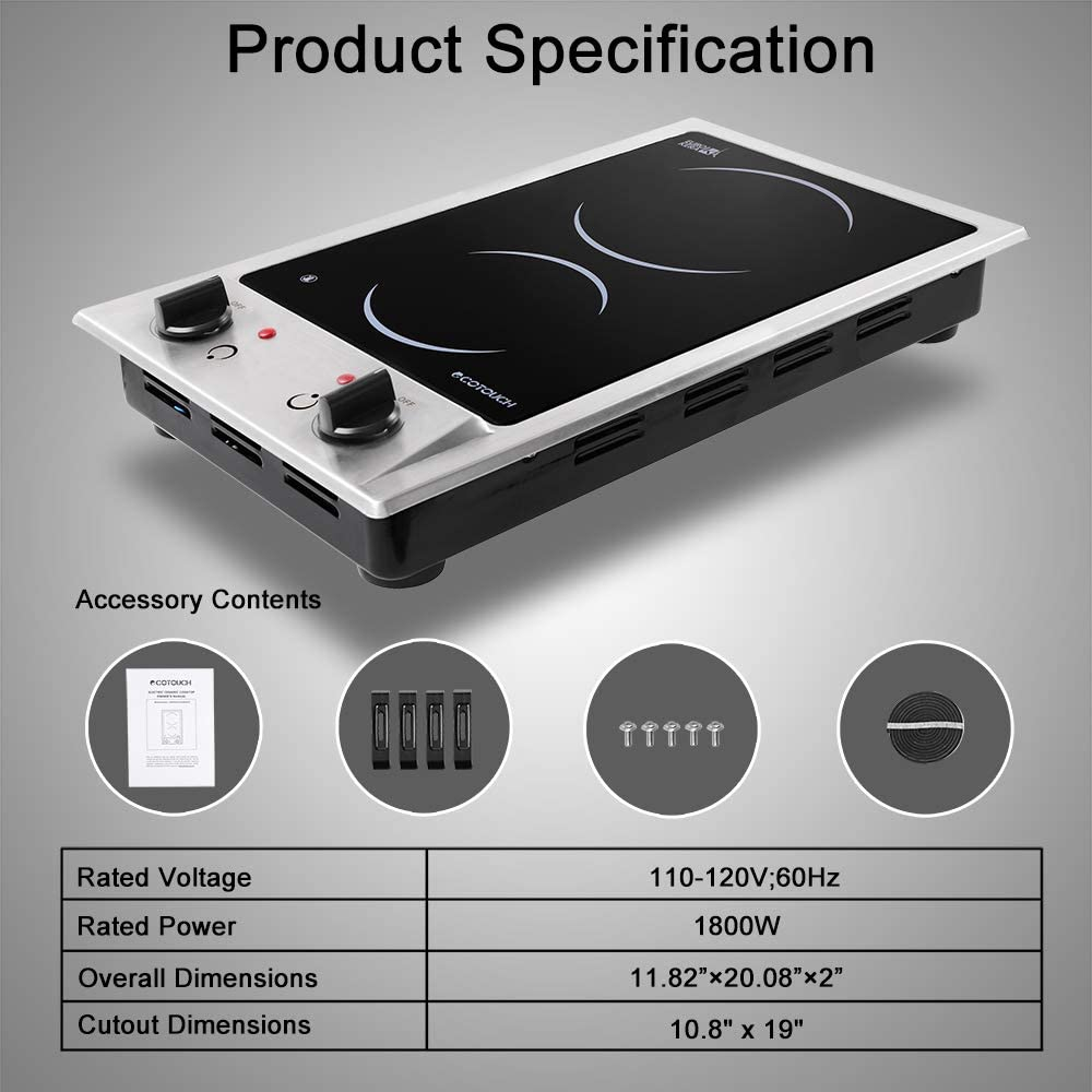 Electric Cooktop ECOTOUCH 2 burner electric cooktop 120V Stove Top Built In Wiring 12 inch Radiant Cooktop with Stainless Steel