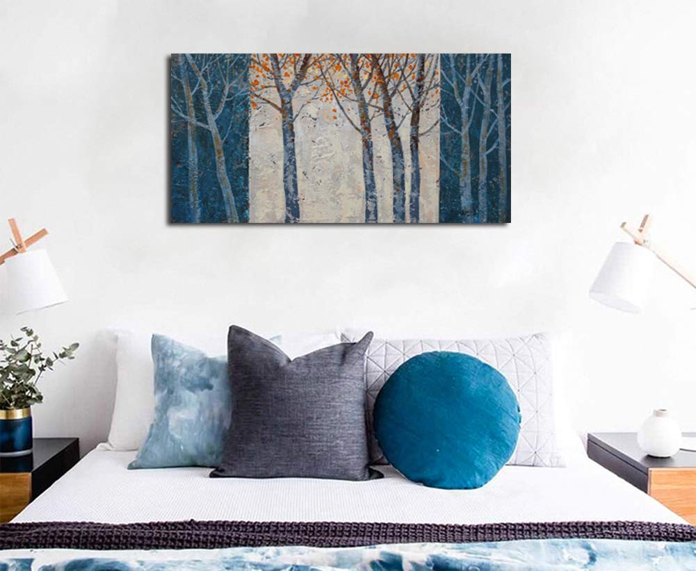 Arjun Riyue Canvas Wall Art Prints Forest Tree Grey Blue Painting Contemporary Abstract Long Wood Picture Framed Ready to Hang for Living Room Bedroom Offfice Home Decor 40''x20'', Original Design by Arjun Riyue (Image #3)