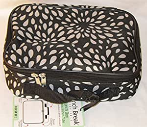 Home Essentials 75613 Black and White Petals Insulated Lunch Tote by Lunch Break Essentials