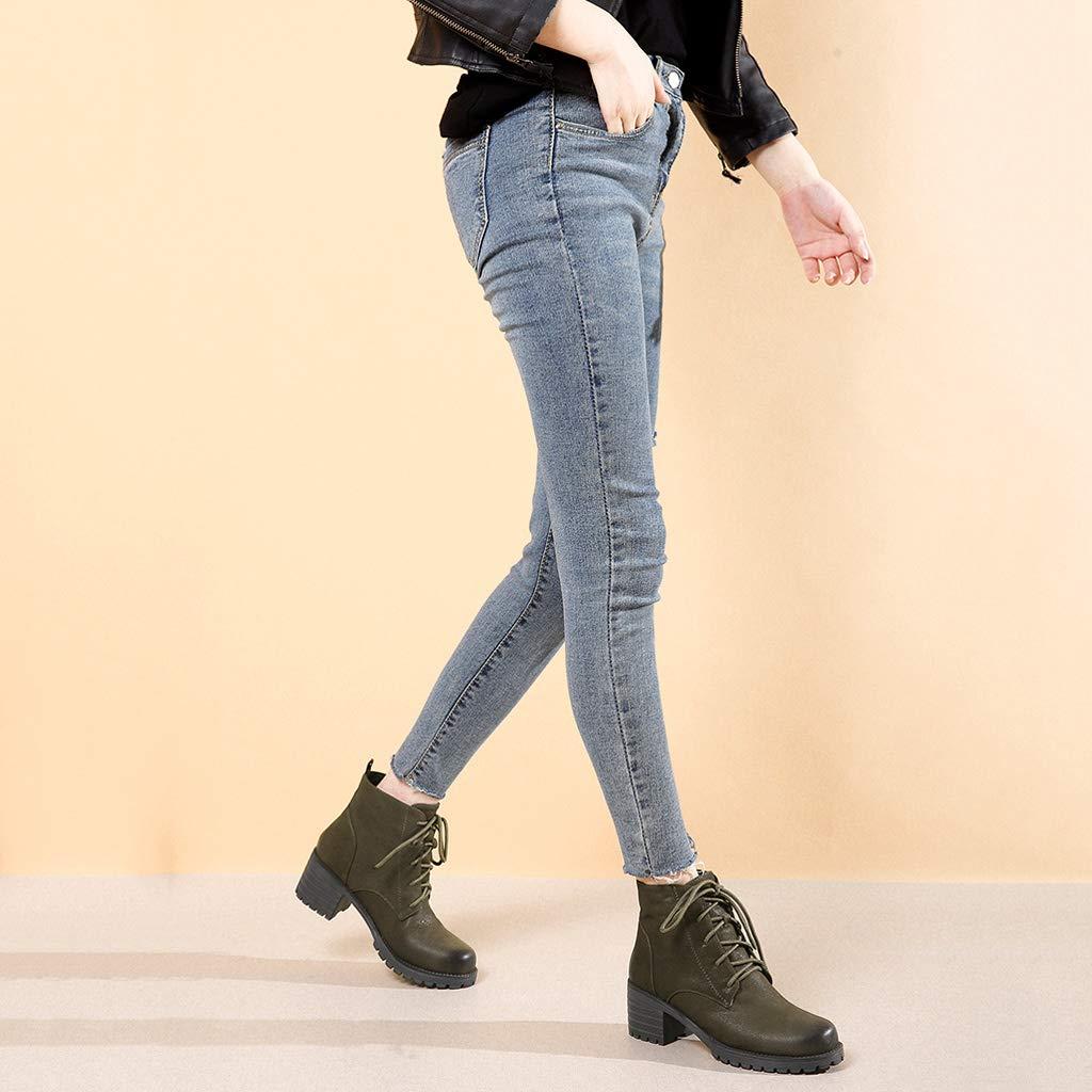Lace-up Thick Martin Stiefel 2018 2018 2018 Herbst und Winter Neue Leder europäischen und amerikanischen Low-Heels Stiefel Damen Stiefel Kuh Lederschuhe (Farbe   braun, größe   37) 2d6d20