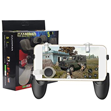SMM 5 in 1 Gamepad Set for PUBG Games (1 Game Handle + 2 L/R Metal Trigger  + 2 Thumb Control) Compatible with Realme U1