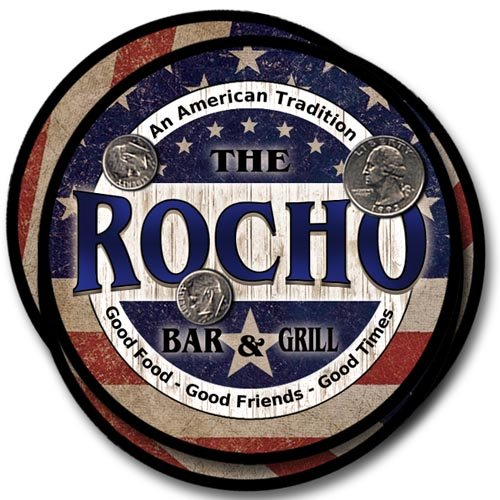 Rocho Bar&Grill Family Name Neoprene Rubber Coasters - 4pcs from ZuWEE