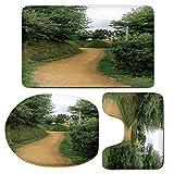 3 Piece Bath Mat Rug Set,Hobbits,Bathroom Non-Slip Floor Mat,Elf-Path-in-Woods-of-Hobbit-Land-in-The-Shire-New-Zealand-Movie-Set-Image-Print,Pedestal Rug + Lid Toilet Cover + Bath Mat,Green-Brown