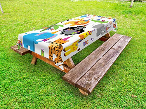 Ambesonne Birthday Outdoor Tablecloth, Jungle Wild Safari Animals in Cartoon Pattern with Party Hats Flags Image, Decorative Washable Picnic Table Cloth, 58 X 120 Inches, Multicolor