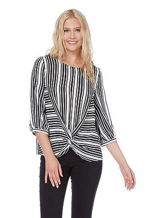 84735d5a2dd8e6 Roman Originals Women s Stripe Print Knot Front Top Sizes 10-20 - Black 8
