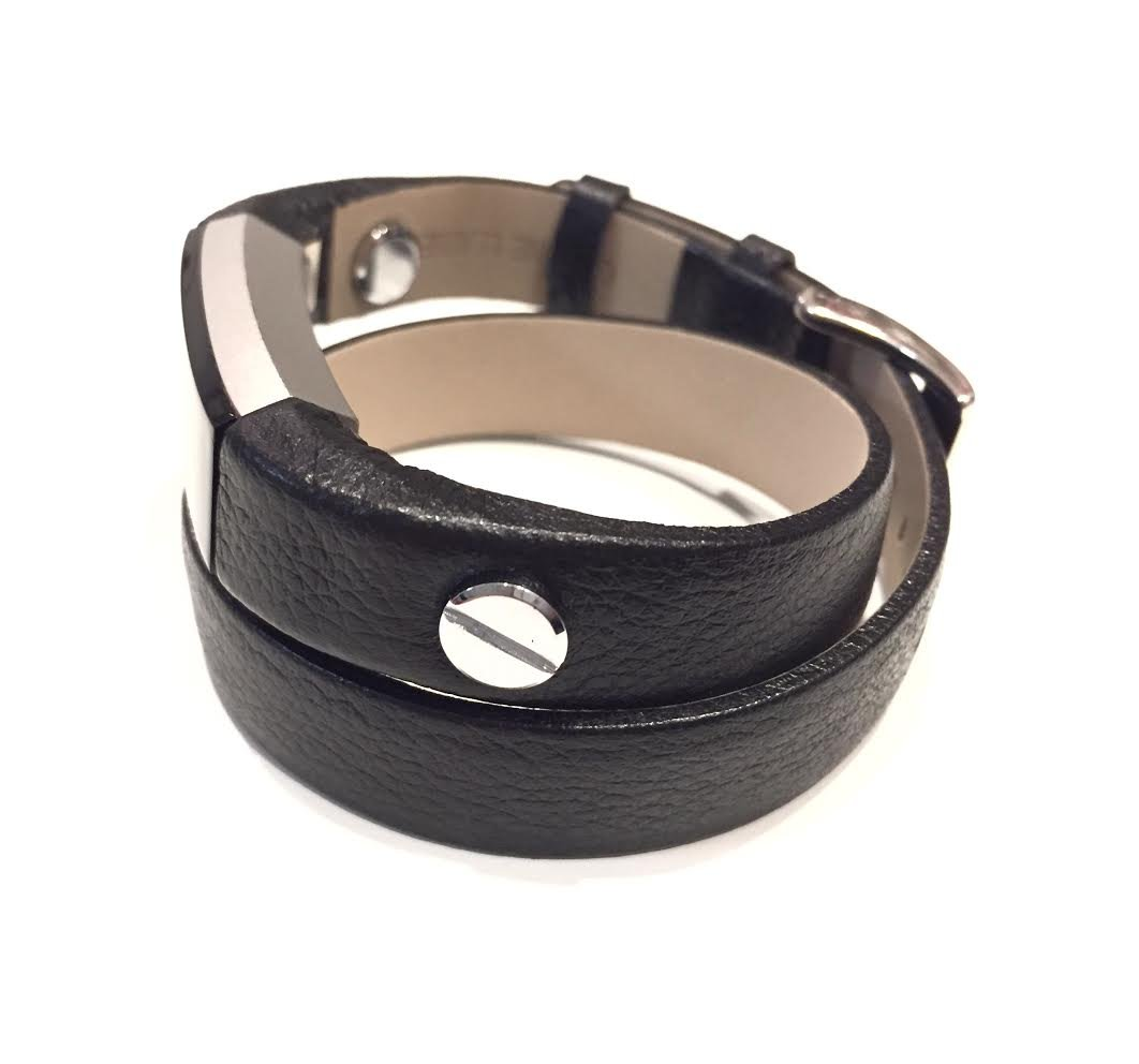 Designer Handmade Double Wrapped Black Leather Bracelet for Fitbit Alta and Alta HR with Silver Metal Screw Rivets