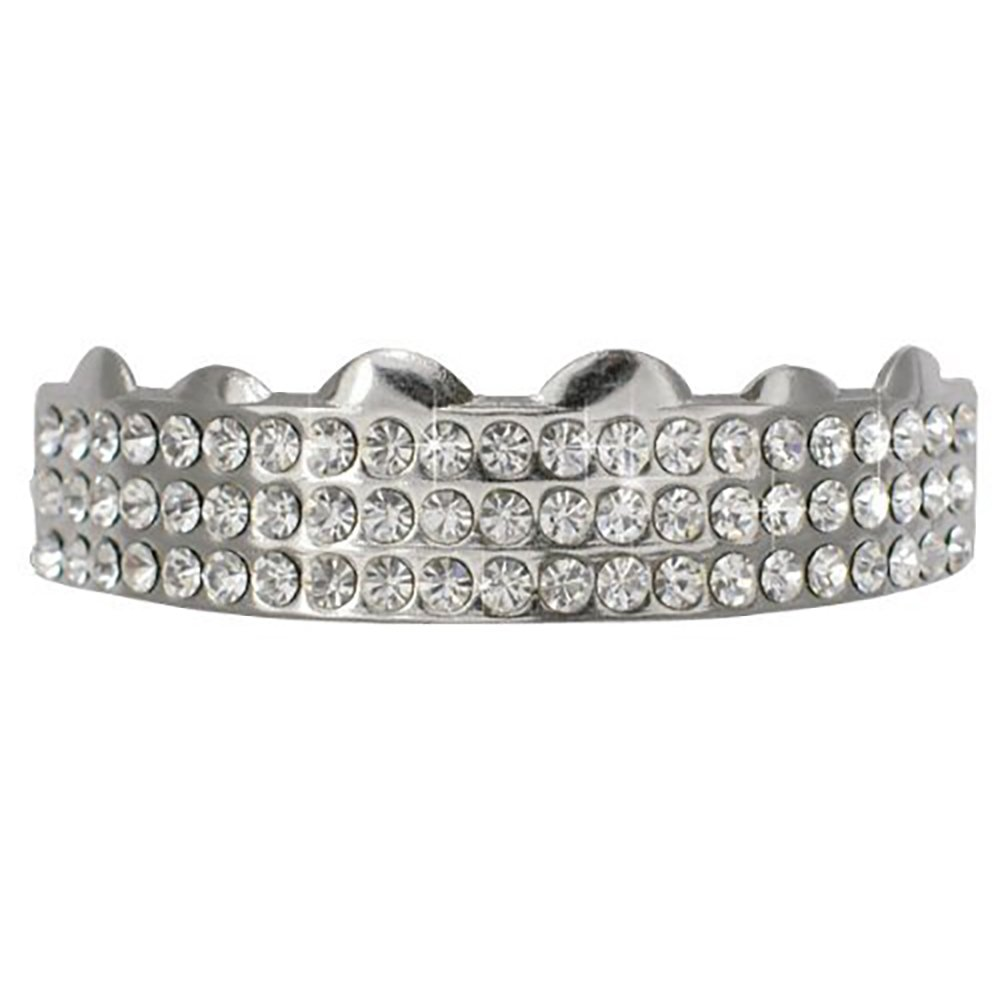 Hiphop Top Silver Tone 3 Rows w/ Clear Cz Removeable Grillz