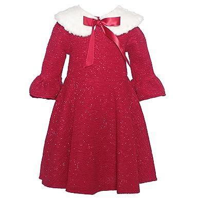 4e8769fcb6b5 Amazon.com  Rare Editions Little Girls Red Bow Glitter White Faux ...