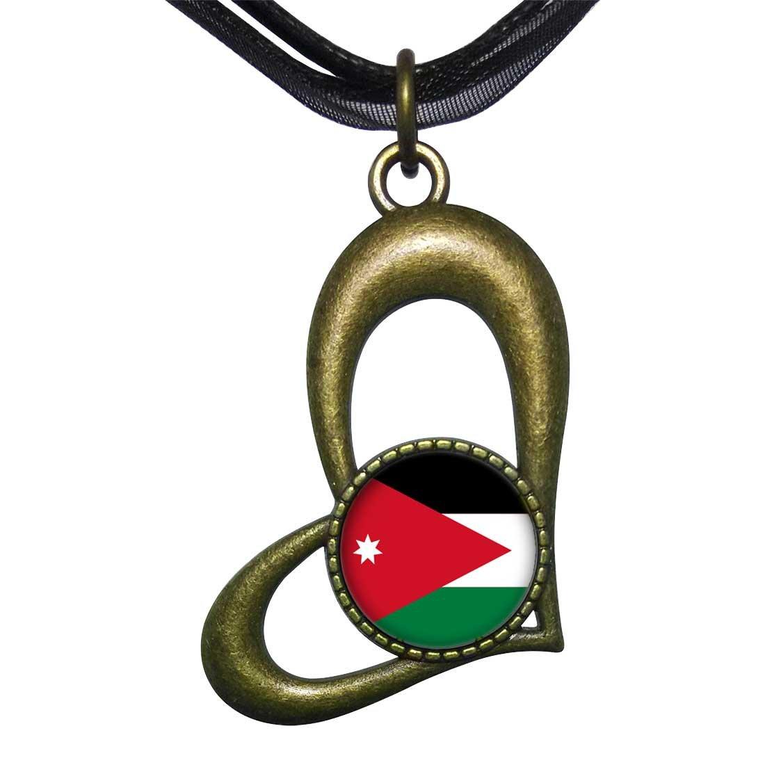 GiftJewelryShop Bronze Retro Style Jordan flag Hollow Love Heart Round Charm Pendant Necklace